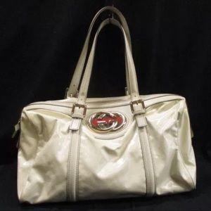 Authentic Gucci Large GG Britt Boston  satchel